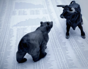 Bull and bear, symbolic beasts of market trends